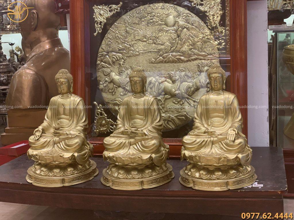 Bộ tượng tam thế phật cao 42cm bằng đồng vàng