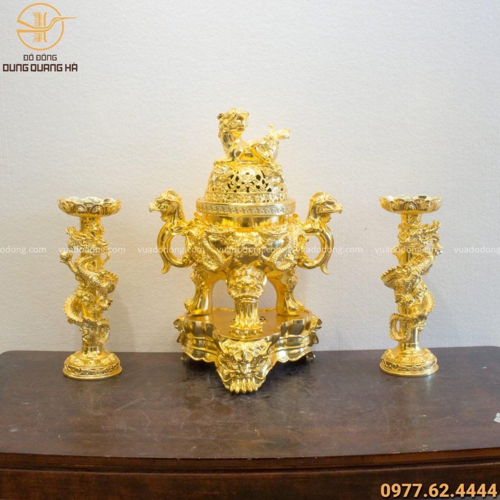 Bộ tam sự song long chầu nguyệt đồng vàng mạ vàng 24k cao 60cm