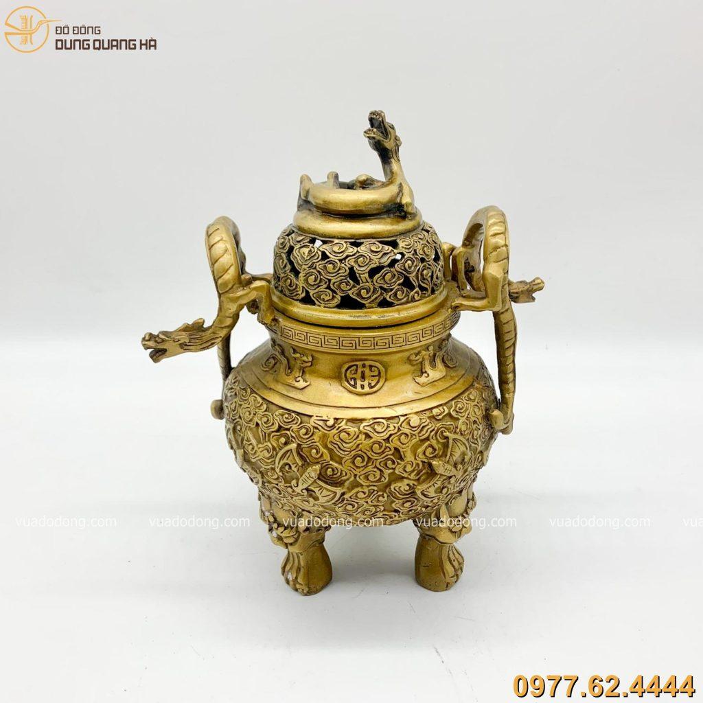 Lư đốt trầm bằng đồng vàng chạm dơi đỉnh Rồng cao 24cm