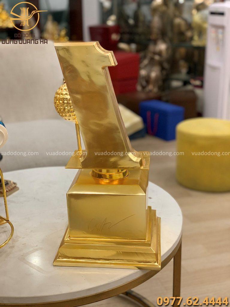 Cúp đồng lưu niệm cao 50cm mạ vàng 24k