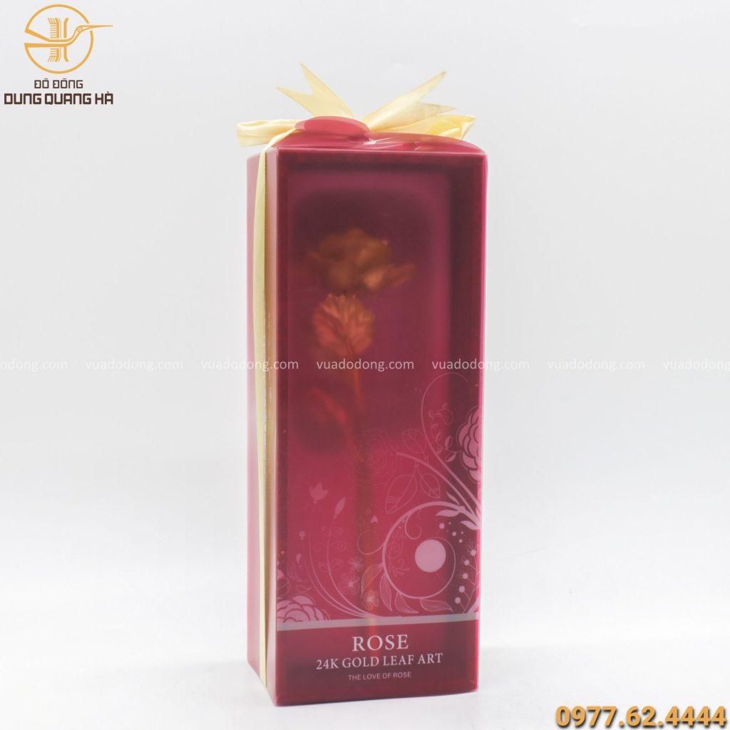 Hộp quà tặng hoa hồng mạ vàng 24k