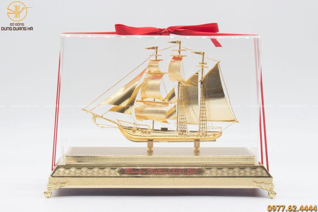 Quà lưu niệm thuyền buồm bằng đồng dài 30cm