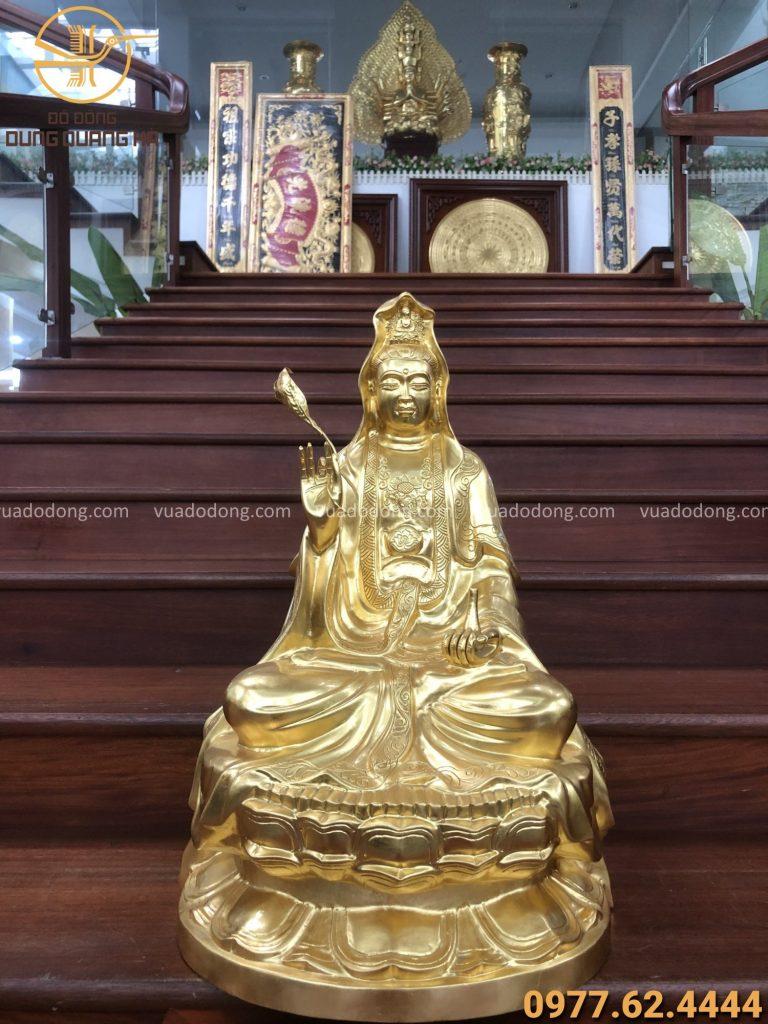 Tượng Quan âm bồ tát đồng đỏ thếp vàng 9999 cao 61cm