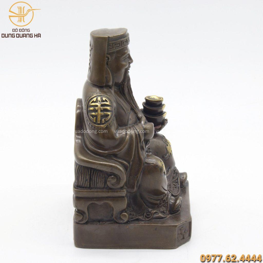 Tượng Thần Tài bằng đồng kích thước 18cm x 12.5cm