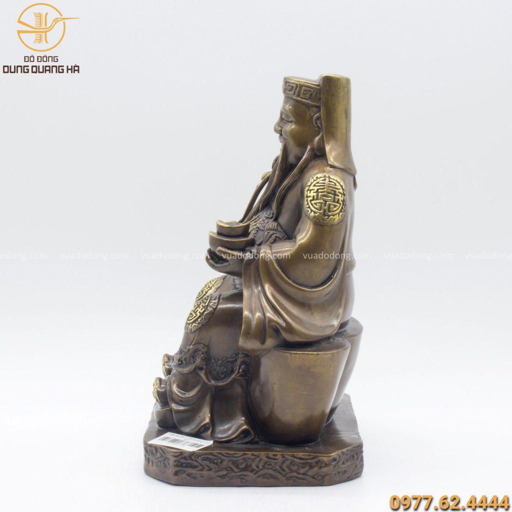 Tượng Thần Tài bằng đồng vàng hun kích thước 25cm x 17cm