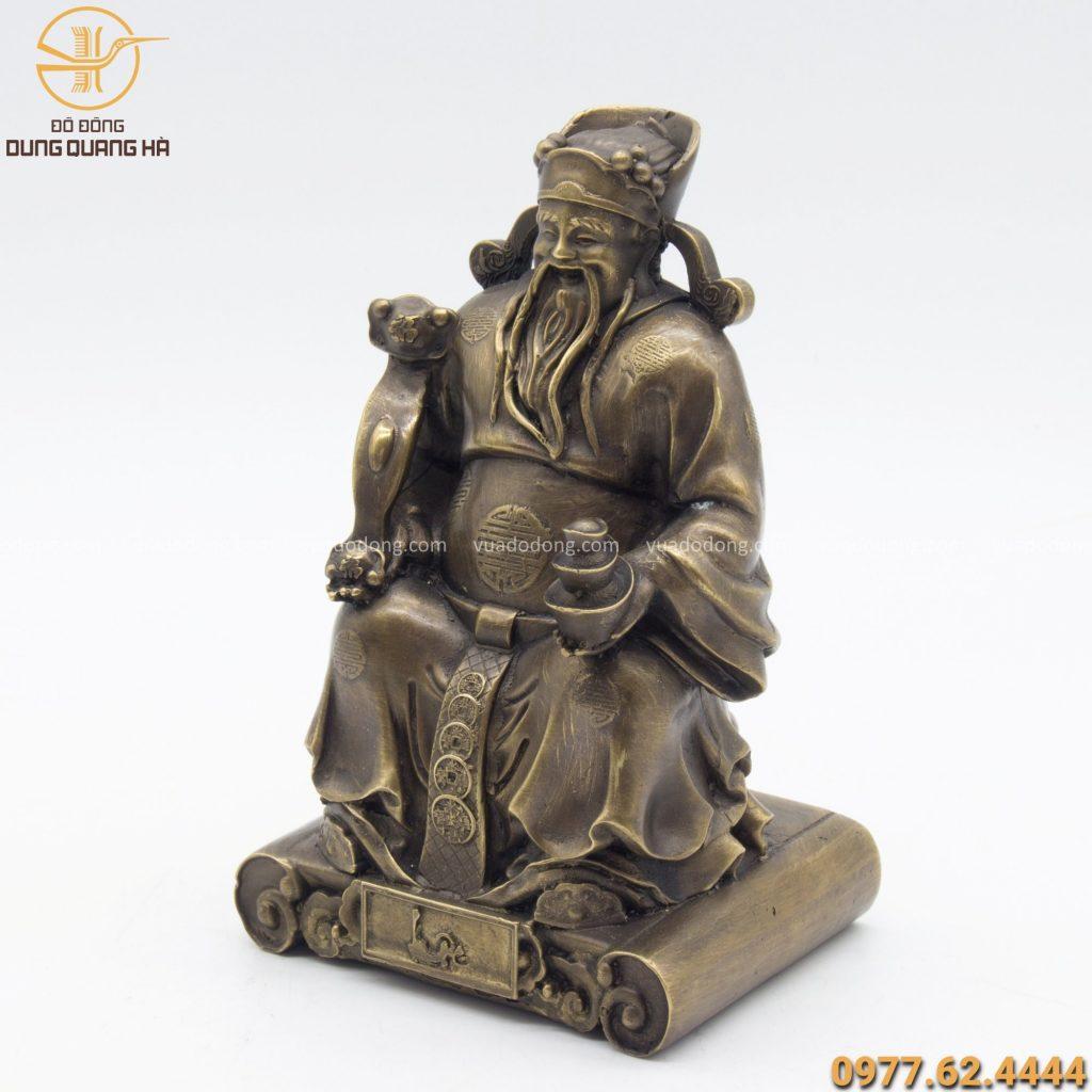 Tượng Thần Tài bằng đồng vàng hun nâu kích thước 19cm x 12cm