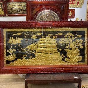 Bức tranh Thuận Buồm Xuôi Gió 2m3 thếp vàng khung gỗ hương