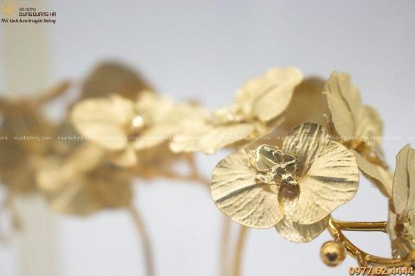 Quà lưu niệm chậu lan 3 cành mạ vàng 24k độc đáo tinh xảo