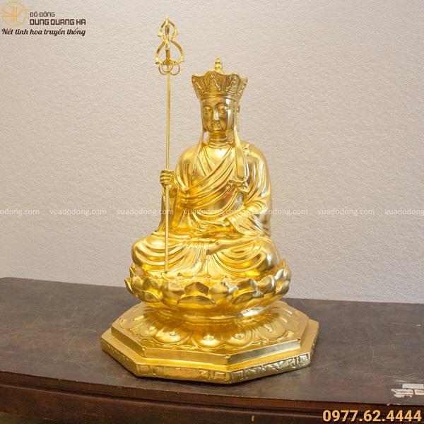 Tượng Địa Tạng Vương Bồ Tát bằng đồng thếp vàng 9999