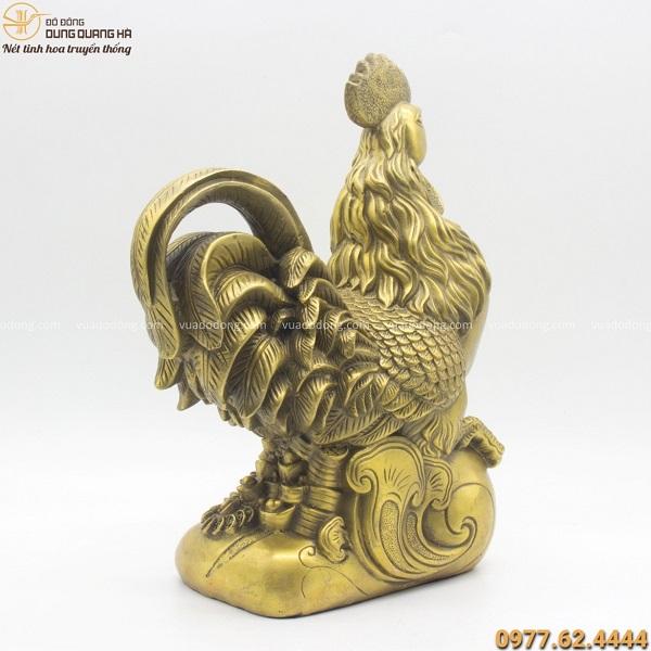 Tượng gà như ý bằng đồng vàng mộc 34cm - quà tặng phong thủy đẹp