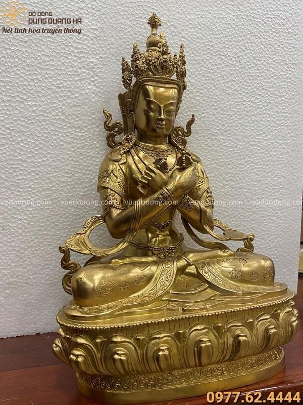 Tượng Kim Cương Chử tôn nghiêm bằng đồng vàng cao 30cm