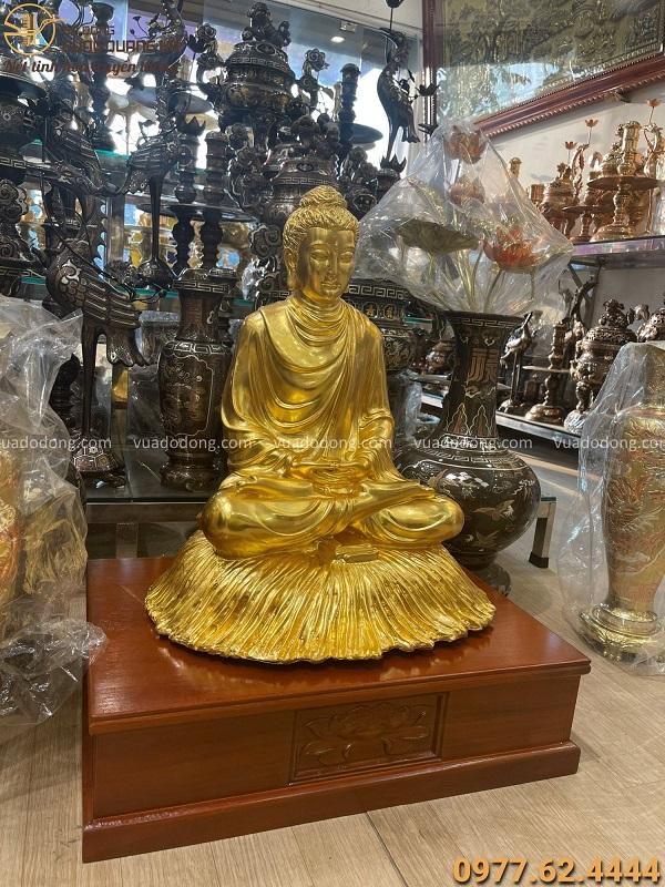Tượng Phật Thích Ca bằng đồng thếp vàng 9999 cao 60cm