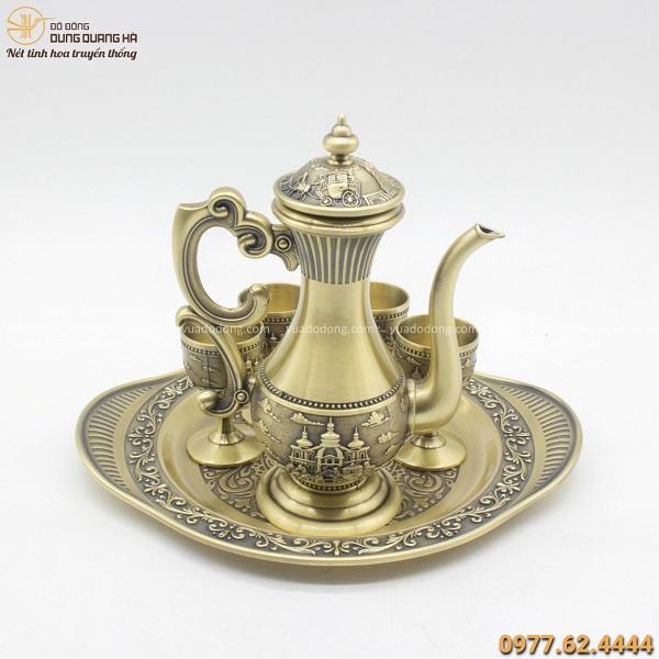 Bộ ấm trà bằng đồng phong cách quý tộc - Quà tặng cao cấp