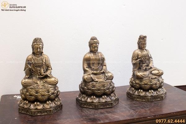 Bộ tượng Tây Phương Tam Thánh đẹp tôn nghiêm hun giả cổ
