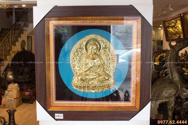 Bức tranh Phật Adida đẹp bằng đồng vàng khung vuông 49cm