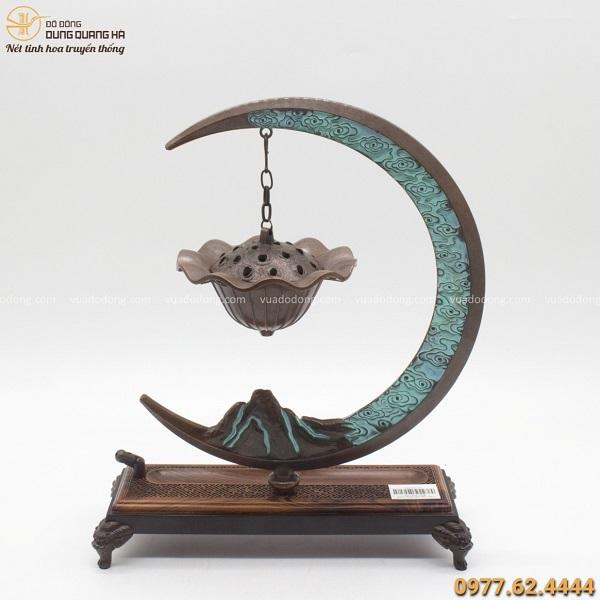 Lư đốt trầm bằng đồng vàng giá treo mặt trăng độc đáo 33x25cm