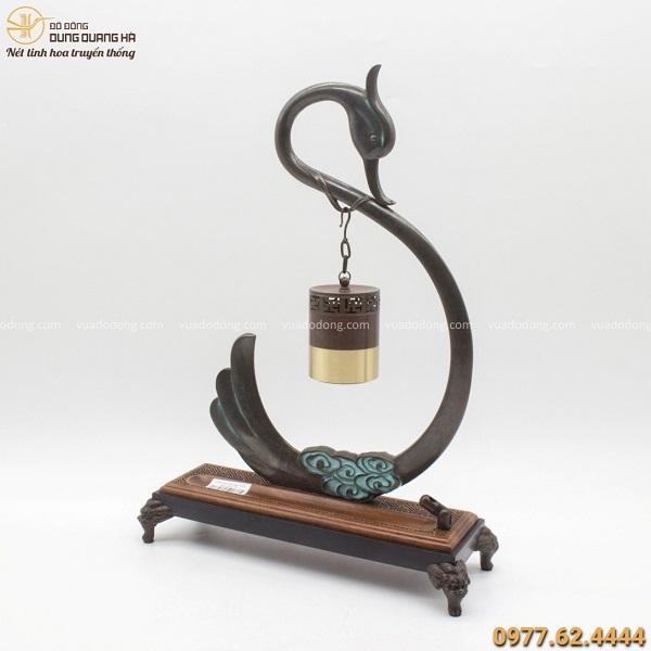 Lư đốt trầm hương bằng đồng vàng giá treo thiên nga 37x25cm