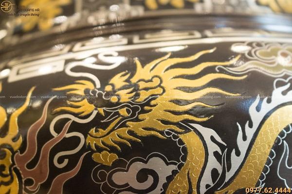 Lư hương đồng khảm ngũ sắc rồng vàng độc đáo tinh xảo