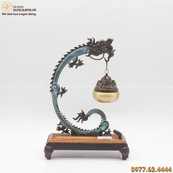 Lư xông trầm tạo hình giá treo rồng bằng đồng vàng 30x20cm