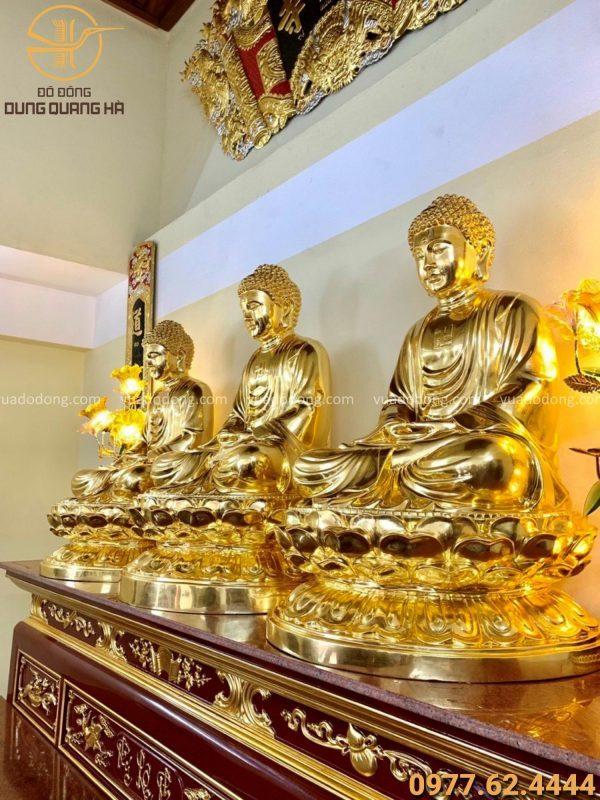 Tượng Tam Thế Phật cao 1m08 bằng đồng đỏ Dát vàng 9999