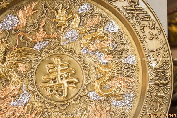 Mâm tranh chữ Thọ họa tiết Tứ linh giả cổ đường kính 52cm
