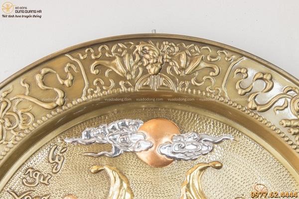 Mâm tranh Lý Ngư Vọng Nguyệt bằng đồng giả cổ đường kính 52cm