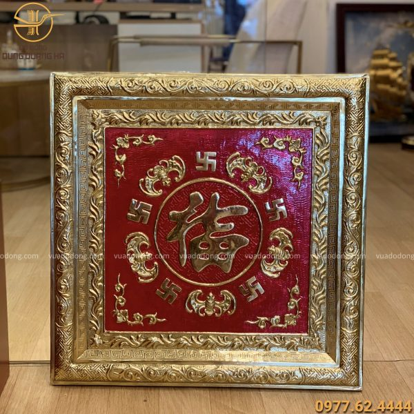 Tranh chữ Phúc vuông 60cm khung đồng