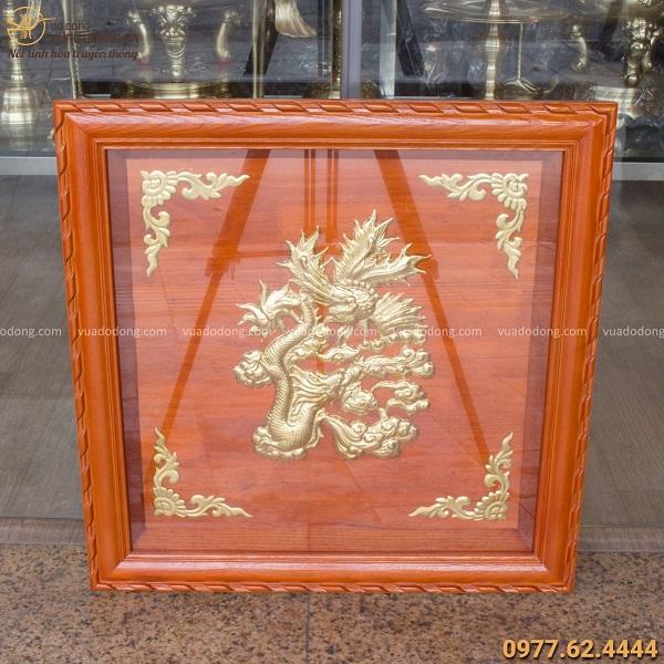 Tranh chữ Đức hóa rồng bằng đồng khung gỗ gụ vuông tinh xảo