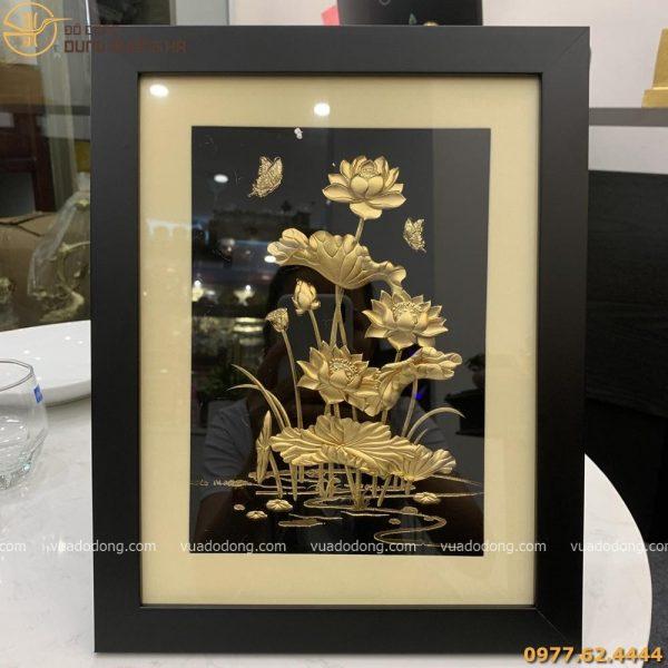 Tranh lưu niệm hoa sen mạ vàng 24k sang trọng