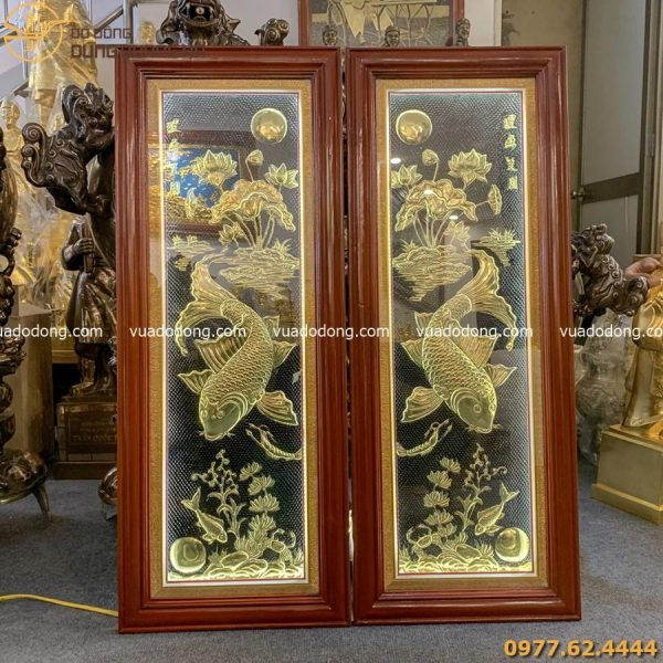 Tranh lý ngư vọng nguyệt 1m x 40cm - đồng vàng - có đèn led