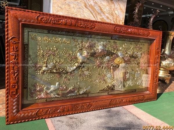 Tranh đồng Vinh Hoa Phú Quý mạ tam khí khung gỗ gụ 2m3 x 1m2