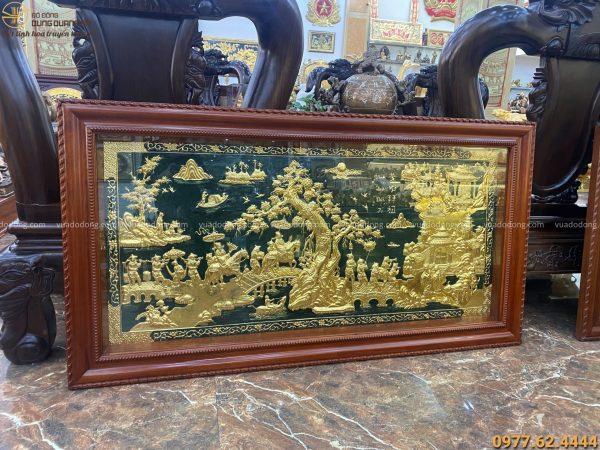 Tranh đồng vinh quy bái tổ thếp vàng 9999 nền xanh 1m7 x 90cm