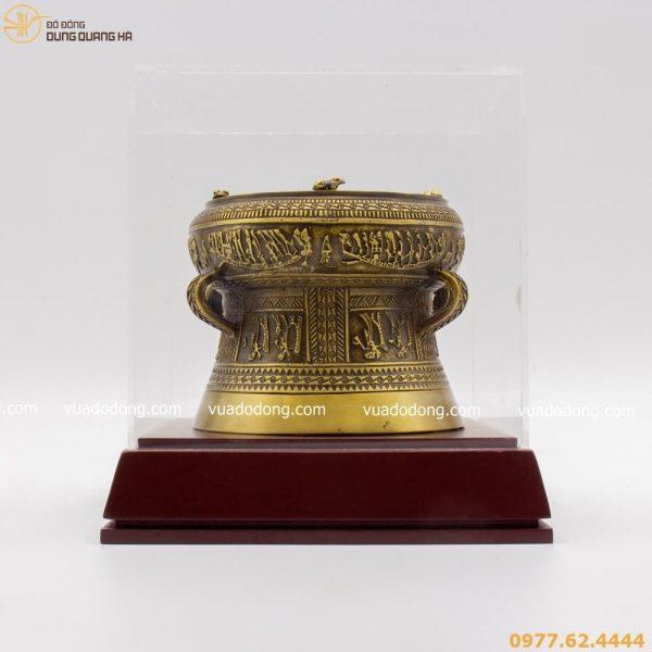 Trống đồng lưu niệm bằng đồng vàng mộc