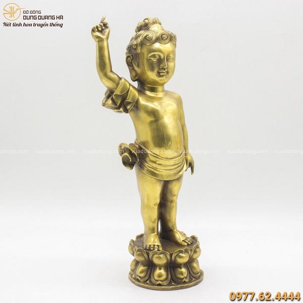 Tượng Phật Đản Sinh bằng đồng vàng đẹp tinh xảo cao 40cm