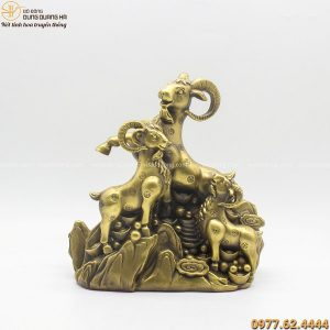 Tượng Tam Dương Khai Thái bằng đồng đứng trên tiền 30x17cm
