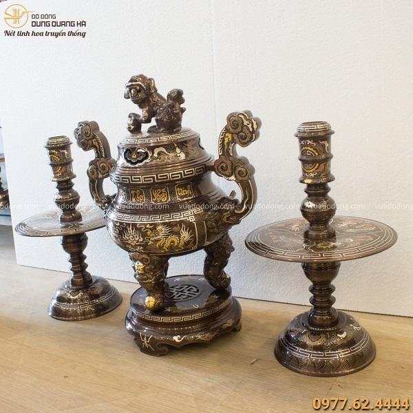 Bộ tam sự rồng đỉnh nến khảm ngũ sắc Phúc Lộc Thọ Khang Ninh