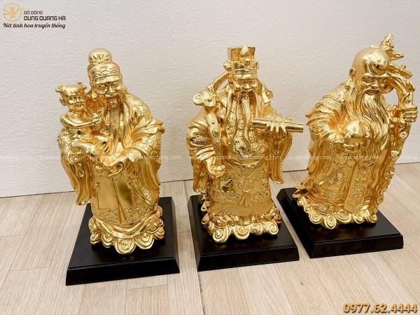 Bộ tượng Phúc Lộc Thọ bằng đồng dát vàng 9999 cao 40cm