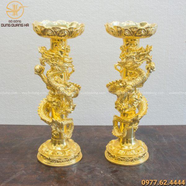 Đôi chân nến thờ song long mạ vàng 24k