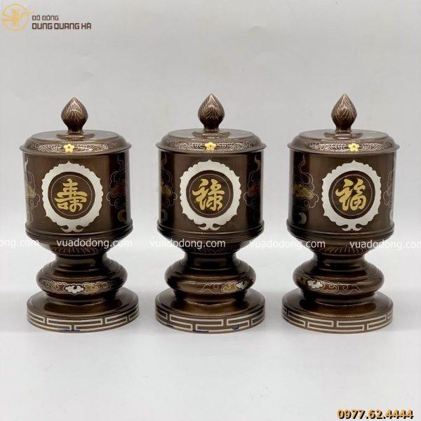Bộ đài thờ bằng đồng đỏ khảm ngũ sắc 3 chữ vàng