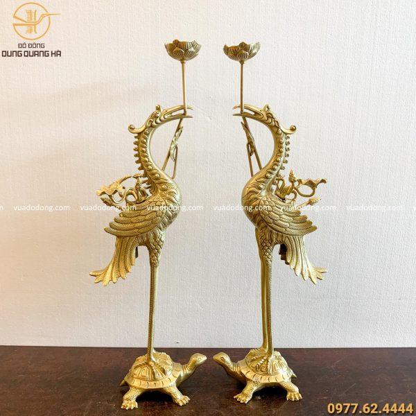Hạc thờ bằng đồng vàng mộc cao 70cm