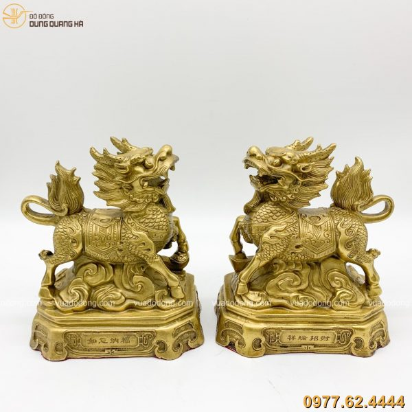 Cặp tượng kỳ lân bằng đồng vàng cao 19cm