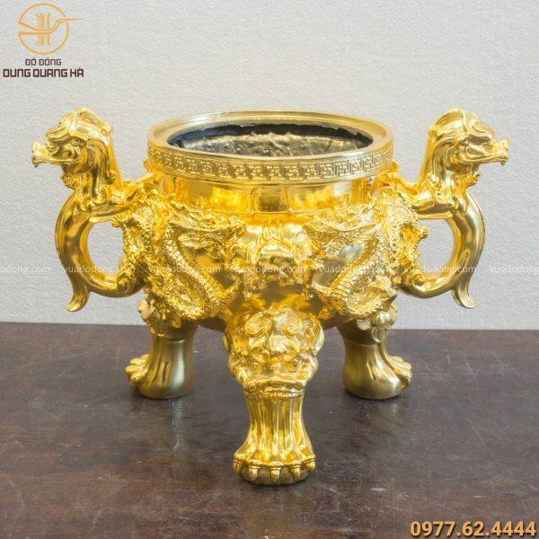 Lư đồng song long chầu nguyệt mạ vàng 24k