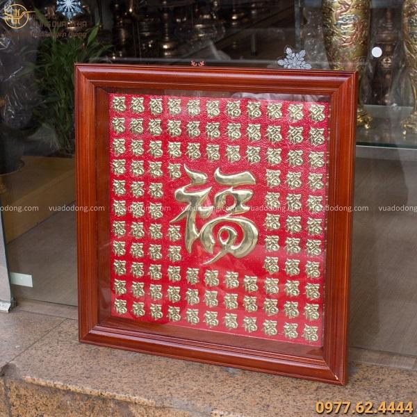 Tranh chữ Phúc bằng đồng khung gỗ vuông nền đỏ tinh xảo