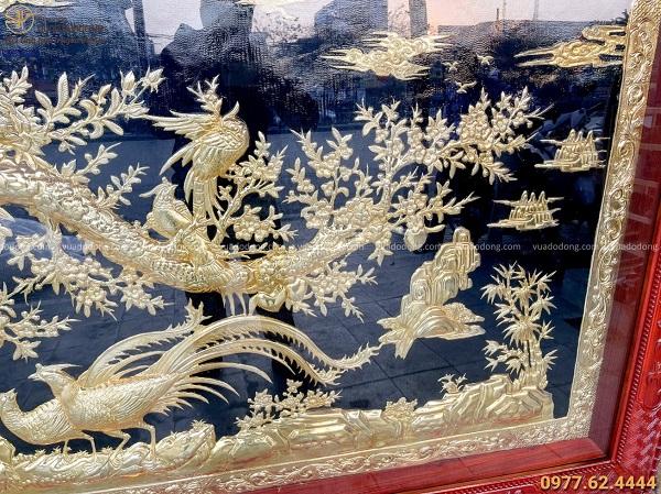Tranh đồng Vinh Hoa Phú Quý kích thước 2m56 x 1m55 mạ vàng