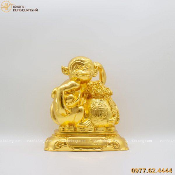 Tượng Khỉ Chiêu Tài Cầu Phúc dát vàng 9999