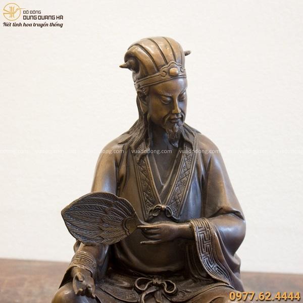 Tượng Khổng Minh bằng đồng vàng ngồi bệ bát quái 31x21cm