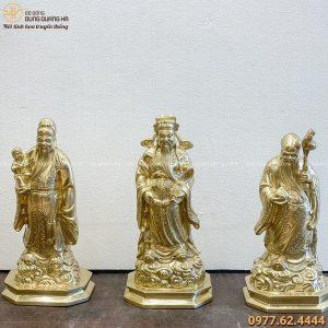 Tượng Tam Đa đẹp bằng đồng vàng cattut cao 36cm tinh xảo