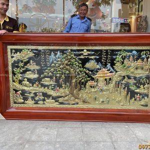 Bức tranh đồng quê vẽ màu độc đáo kích thước 2m3 x 1m2