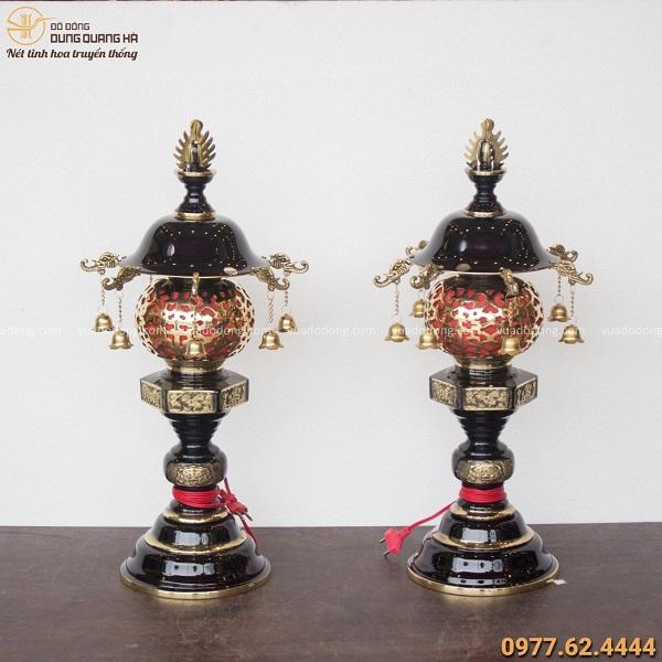 Đèn thờ bằng đồng treo chuông cao 62cm bằng đồng vàng hai màu
