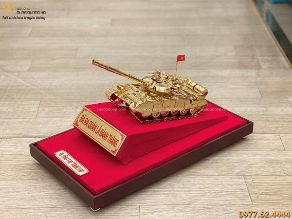 Mô hình xe tăng T90 bằng đồng mạ vàng tinh xảo 30x12x11cm